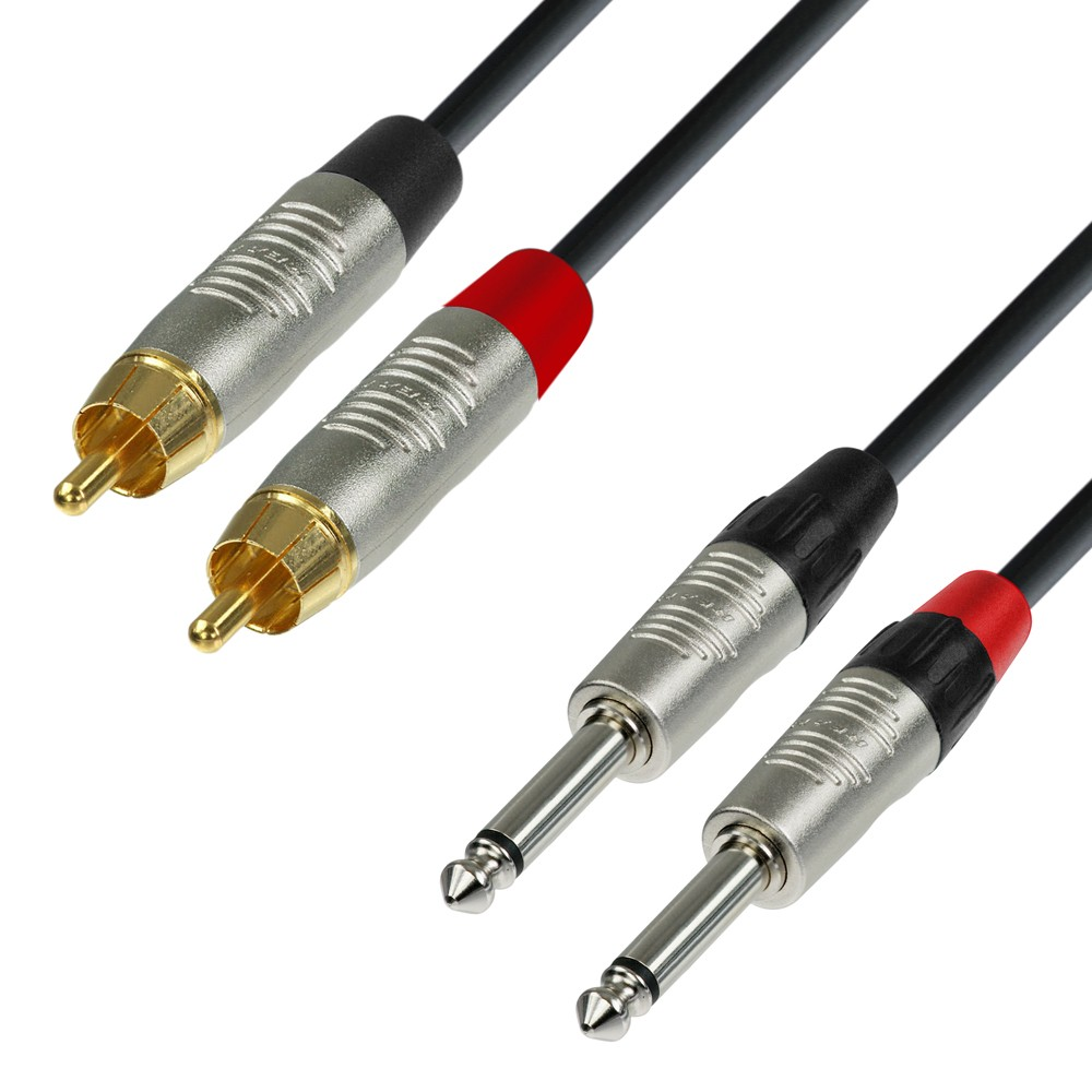 Audio Cable REAN 2 x RCA male to 2 x TRS male mono 3 m - Haninge Musik